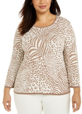 Alfred Dunner Plus Size First Frost Animal-Print Sweater