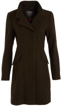 Vince Camuto Women's Car Coats Loden - Brown Notch Collar Wool-Blend Coat - Women