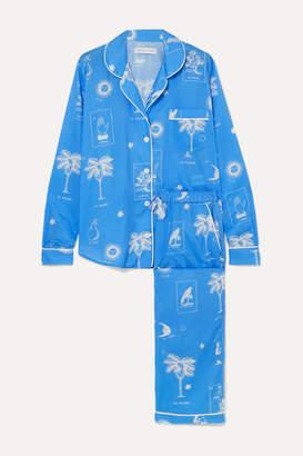 Desmond & Dempsey Printed Cotton-voile Pajama Set - Blue