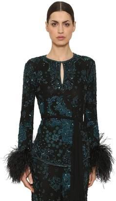 ZUHAIR MURAD Sequin & Bead Embellished Top