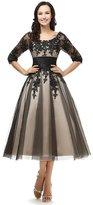 Snowskite Women's Black Lace Applique Tulle Long Formal Evening Dress Black 20