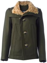 DSQUARED2 single breasted coat - women - Polyamide/Polyester/Lamb Fur/Virgin Wool - 40