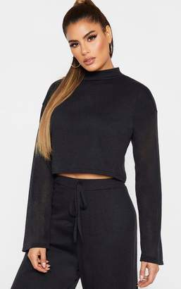 PrettyLittleThing Tall Black Fine Knit Long Sleeve Crop Top
