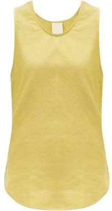 Marrakshi Life - Curved-hem Cotton-blend Tank Top - Womens - Yellow
