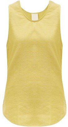 Marrakshi Life - Curved-hem Cotton-blend Tank Top - Yellow