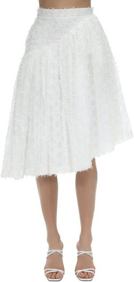 pushBUTTON Asymmetrical Fil Coupe Gauze Skirt