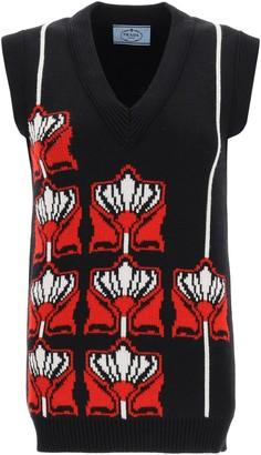 Prada Floral Jacquard Knitted Vest