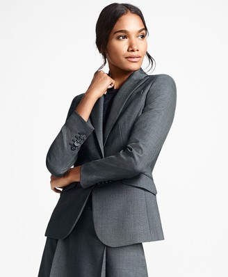 Brooks Brothers Bird's-Eye Stretch-Wool One-Button Jacket