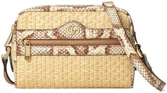 Gucci GucciGenuine Snakeskin & Straw Crossbody Bag