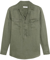 Equipment Knox Lace-up Linen Shirt - Forest green