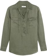 Equipment Knox Lace-up Linen Shirt - Forest green