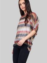 M&Co Izabel striped batwing sheer top