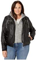YMI Jeanswear Snobbish Snobbish Plus Size Faux Leather Jacket with Detachable Sweater Hood (Black) Women's Clothing