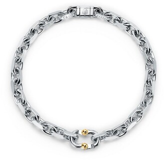 Tiffany & Co. 1837TM Makers narrow chain bracelet in sterling silver and gold, large