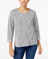 Style&Co. Style & Co. Jacquard Cuffed-Sleeve Top, Only at Macy's