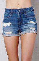PacSun Bend Blue Ripped Super Stretch Denim Shorts
