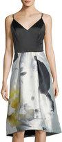 Phoebe Couture Bi-Tone Floral-Print High-Low Dress