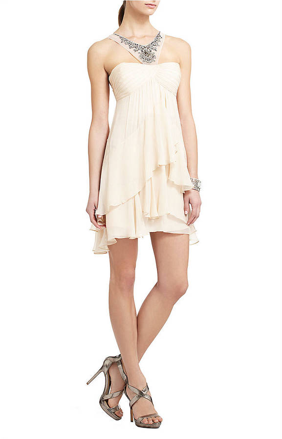 BCBGMAXAZRIA Joyce Beaded Silk Cocktail Dress