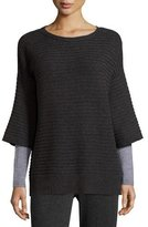 Magaschoni Colorblocked Layered-Sleeve Cashmere Sweater, Charcoal/Silver
