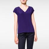 Paul Smith Women's Navy Silk-Crêpe Sleeveless Top
