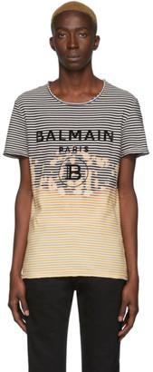 Balmain Black and Yellow Striped Tie-Dye T-Shirt
