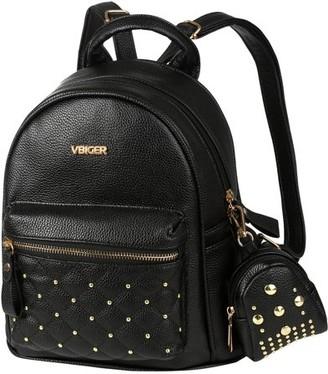 Generic Women Girls School Leather Backpack PU Leather Travel Handbag Rucksack Shoulder Bag Tote, Black