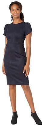 Calvin Klein Tulip Sleeve Sheath Dress (Navy) Women's Dress