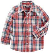 Osh Kosh Toddler Boy Long Sleeve Orange Plaid Poplin Button-Down Shirt