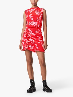 AllSaints Hali Jasmine Floral Mini Dress, Red