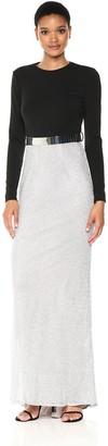 Mac Duggal Women's Long Sleeve Metallic Gown