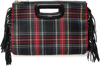 Maje Fringed Checked Leather And Wool-twill Clutch