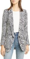 Smythe Zebra Print Long Peaked Lapel Blazer