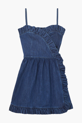 Stella McCartney Ruffle-trimmed Denim Wrap Mini Dress