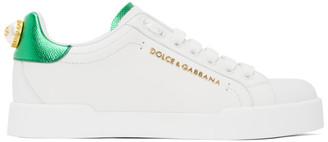 Dolce & Gabbana White and Green Lettering Portofino Sneakers