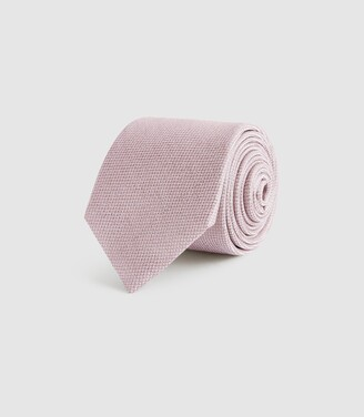 Reiss Ceremony - Textured Silk Tie in Pink