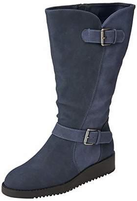 Joe Browns Women's Happiness Buckle Wedge Boots High, Blue (Blue A), 8 (42 EU)