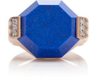 Lapis Melis Goral 14K Gold, And Diamond Ring