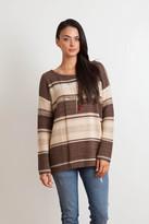 Goddis Leah Stripe Pullover In Choco Puff