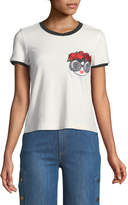 Alice + Olivia Rylyn Staceface Embroidered Ringer Tee