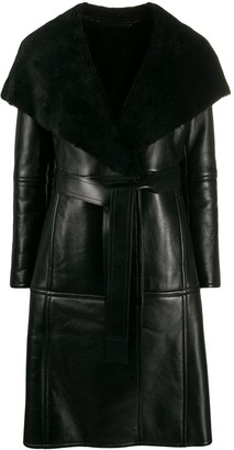 Balenciaga Belted Leather Coat