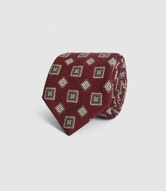 Reiss Arezzo - Wool Medallion Tie in Bordeaux
