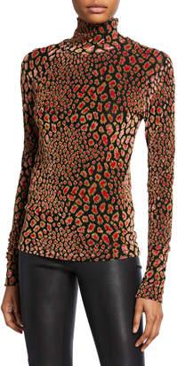 Caroline Constas Delphine Metallic Animal-Print Turtleneck Sweater