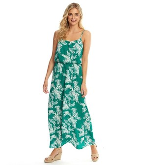 Only Womens Nova Lux All Over Print Strappy Maxi Dress Cadmium Green/Summer Palm