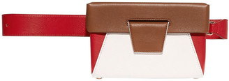 Yuzefi Lola Color-block Smooth And Textured-leather Belt Bag