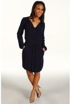 DKNY Blouson Sleeve Shirt Dress (Night Blue) - Apparel