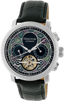 Heritor Automatic Men's Watches Silver/Black - Silver Aura Semi-Skeleton Leather-Strap Watch