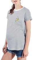 Topshop by Tee & Cake Stripe Embroidered Banana Maternity Tee