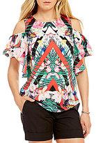 Gibson & Latimer Cold-Shoulder Tropical Floral Print Blouse
