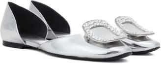 Roger Vivier Chips crystal-embellished metallic leather ballerinas