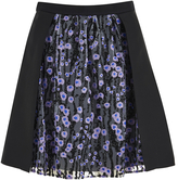 Carven Women's Floral Skirt Black/Lilac